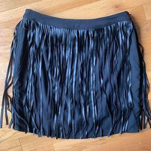 Women's Black Faux Leather Tassel Skirt Size Large